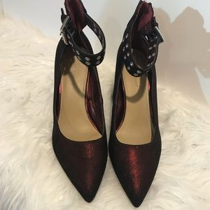 Marc Fisher block heel pumps size 9 1/2 red Ankle